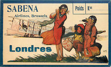 SABENA AIRLINES to LONDON / LONDRES - Rare & Beautiful Luggage Label, 1924