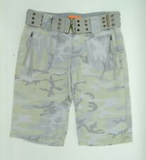 Juicy Couture Gray Green Camouflage Belted Bermuda Shorts Size 2