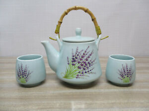 Teapot, Lavender design, Teapot and two cups