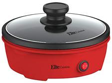 Elite Cuisine Electric Personal Nonstick Stir Fry Griddle Pan Skillet Tempered