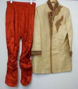 Mens Indian Formal Outfit Gold Sherwani Burnt Orange Trousers Turban Shoes F10