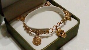 FABULOUS 9ct 375 Solid Yellow Gold MIXED THEME Charm Bracelet With 5 Charms***