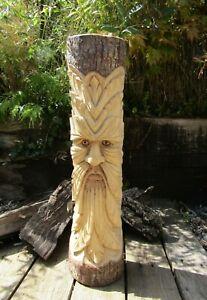 Fair Trade Hand Carved Wooden Green Man Full Tree Trunk Stump Log Statue 50cm