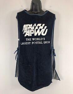 APWU Blue Jean Denim Apron Pullover Cobbler Style Smock w/ Pocket Made in USA