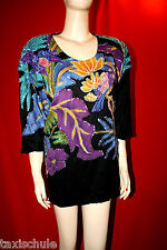 70er Jahre Show Bühne Glanz Nylon Pullover Bluse T-Shirt Gr. 50 Schwarz Retro
