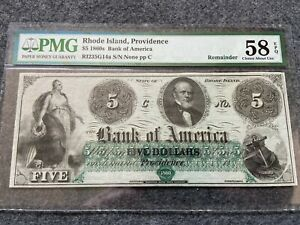 1860s Bank of America, Providence, Rhode Island $5 Five Dollars PMG Certified