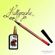 Kalligraphie-Set: Kalligraphiepinsel Brush Pen + 35 ml Zeichentusche schwarz