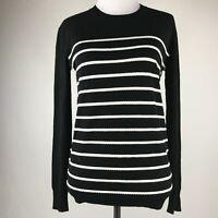 Theory Women Black White Trim Knit Long Sleeve Sweater Top sz P/TP