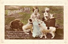 POSTCARD    GREETINGS  TEDDY  BEAR  Related    Birthday  Dogs  Little  Girl
