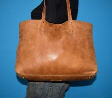 ROOTS Brown Leather Med Tote Rugged Shopper Shoulder Carryall Bag Purse CANADA