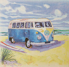 VW Woody Camper Hippy Van & Surf Board - Seaside Beach Wooden Picture Plaque