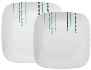 1 CORELLE Square RAIN DROPS Choose: DINNER or LUNCH PLATE  *Turquoise Black Dots