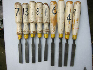 9 vintage 1/2 inch firmer wood chisels. Shefield made.Used but usable