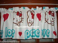 LINED premade VALANCE with Sanrio HELLO KITTY cat peace LOVE bunny heart FABRIC
