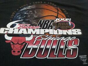 VTG 90s 1998 NBA Finals Chicago Bulls 6 Time Champions Champs T Shirt X-Large XL
