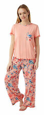 Ladies Soft Touch Oriental Floral Print 2 Piece Pyjamas Sizes 12 - 28 22/24