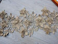 """7.87""""*1Y  Metallic 3D Gold Venice Lace Trim,Gold Lace Trim with 3D Flowers"""