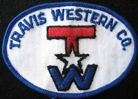 TRAVIS WESTERN SEW ON PATCH TW COMPANY UNIFORM ADVERTISING COLLECTIBLE 4 x 2 1/2