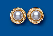9ct Yellow Gold White Pearl with Twisted Edge Detail Studs AP0291