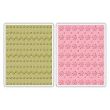 Sizzix A2 Embossing Folders 2PK - Dots, Zig Zags & Flowers Set  - 658846