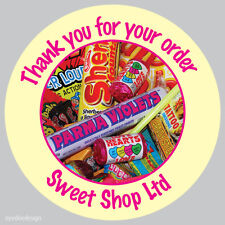 Personalised Sweet Cone Shop 37mm Birthday Stickers Party Thank You Seals - 186