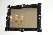 Espejo de Pared Negro Barroco 90x70 Diseño Rectangular Antiguo Baño