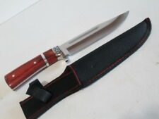 Hunting knife with polished hardwood handle and stainless steel blade