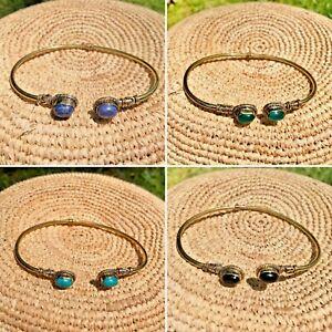 Handmade Bohemian Brass Metal Adjustable Bracelet wt Healing Gemstone