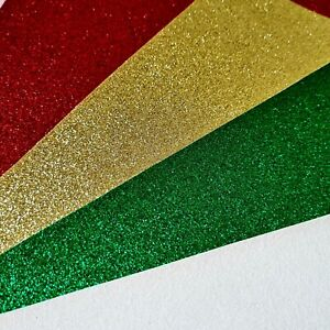 Christmas Glitter Fabric Set - 4 x A4 Sheets - Red Green White Gold - Bow Making