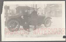 Vintage Car Photo Woman & Man w/ 1915 Paige Automobile in Winter Snow 755920