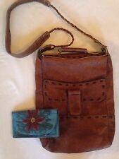 Vtg 70s HIPPIE LEATHER  Whipstitch BAG PURSE. + Mexican Painted Inlaid Wallet