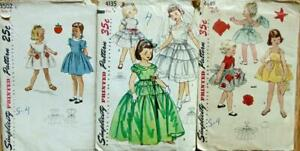3 Vintage Simplicity Sewing Patterns Girls sz 4 Dresses 1951 52 & 54  Used
