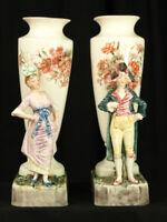 Paire de Vase Balustre Faience Gien 19 ème décor Personnage Couple d'ÉLÉGANTS