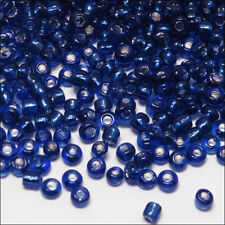 Perles de Rocailles en verre 2mm Trou Argenté Bleu Foncé 20g (12/0)