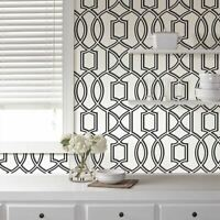 Uptown Trellis Black/White Peel and Stick Wallpaper