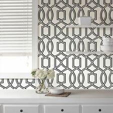 Uptown Trellis Black/White Peel and Stick Wallpaper