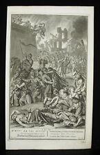 Antique Biblical Etching Nébuzardan brûle Jéreusalem Abr DE BLOIS 1728 G Hoet