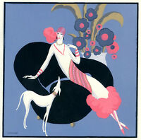 1930s French Pochoir Print Edouard Halouze Art Deco Flapper With Hound Dog