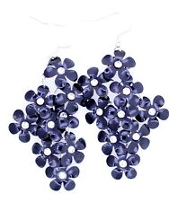 BOHO style crystal centred black plum flower chandelier earrings
