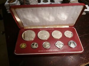 1977 Bahamas 9 Pc Proof Set w/4 Silver Coins in Original Box from Franklin Mint