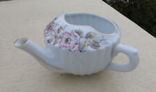 Floral Fluted Invalid Feeding Cup / Infant Feeder / Pap Boat - Enamelled
