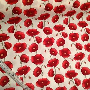 Large Poppy 100% Cotton Fabric, Poppies Crafts, Metre UK seller, sewing