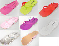 Girls Summer Flip Flops Flat Thongs Strap Sandals Colourful Kids Infants Holiday