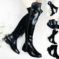 Womens Ladies Stud Low Flat Heel High Thigh Stretch Over Knee Boots Shoes Size