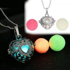 Fancy Hollow Glow In The Dark Locket Necklace With 3 Beads love Heart Halloween