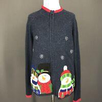 Christmas Sweater L Blue Snowman Applique Zip Front Ugly TIARA INT'L Cardigan