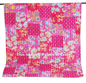 Indian Bohemian Twin Cotton Patchwork Kantha Quilt Hippie Bedspread Bed Cover