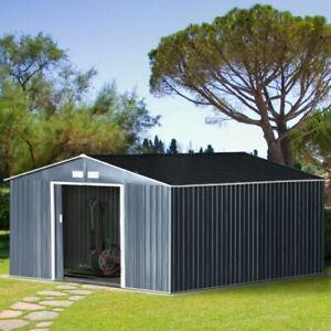 Outsunny 12.5FT X11FT Garden Outdoor Storage Shed w/2 Door Galvanised Metal Grey