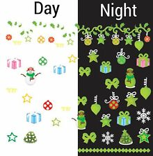 Nail Art Water Decals Glow in the Dark Christmas Tree Ornaments Snowman GID055