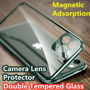 360° Case For iPhone 13 12 11 Pro Max Magnetic Adsorption Tempered Glass Cover